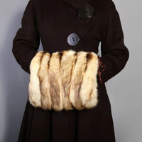 30s 40s FUR MUFF PURSE / Camel & Brown Stripes Clutch