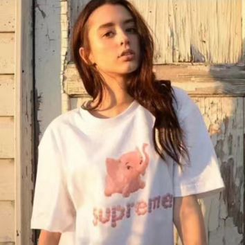 supreme print T-shirt pullover T-shirt top blouse Tee
