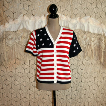 4th of July Clothing American Flag Sweater Short Sleeve Cardigan Womens Sweaters Patriotic Clothing Petite Medium Large Womens Clothing