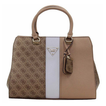 Guess Women's Cooper Logo Brown Multi Faux Leather Satchel