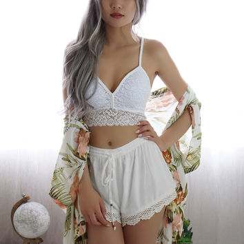Lila Lace Crop Top (WHITE)