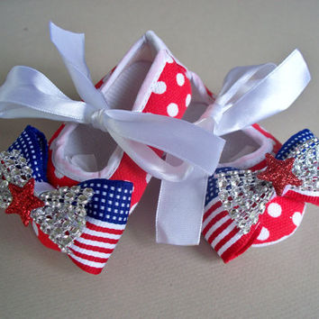 Baby Girls Shoes, Fourth of July girls crib shoes, Patriotic Soft Sole Mary Jane Baby Shoes, red, white and blue, American flag bow