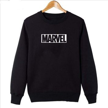 2018 Marvel Sweatshirts Man Women Round Neck Hoodies Comic Japanese Nime Letter Printed Kpop Casual Black Hoodie DYY011
