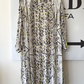 Dvf White Printed Sheer Kaftan Dress/Coverup Xs/0/2 (Diane von Furstenberg)