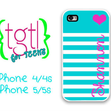 Cute iPhone 4 case - Tiffany blue striped hot pink name - monogram iPhone 4/4s/5/5s cover, iPhone 4s case personalized iPhone 5s case (9818)