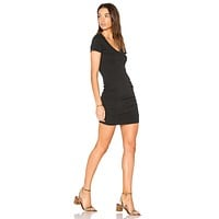 V-Neck Mini Rouched Black Dress