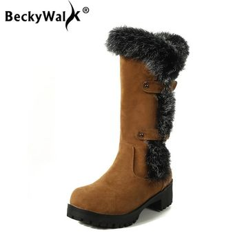 BeckyWalk Faux Fur Winter Shoes Women Mid-Calf Snow Boots Thick Heels Warm Plush Women's Boots Large Size Botas Mujer WSH3025