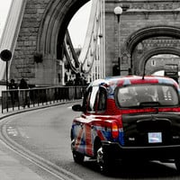 London Union Jack Taxi. Art Print by Becky Dix