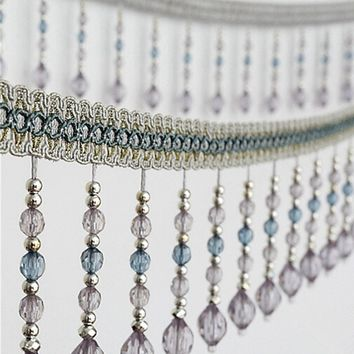 12meters Briaded Hanging Beads Tassel Fringe Trimming Applique Fabric Ribbon Tape Band Curtain Table Wedding Decorated T2583