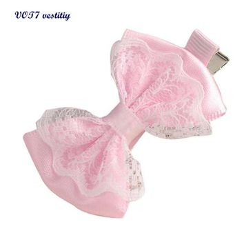 Free shipping VOT7 vestitiy 2017 fashion women Cute Lace Bowknot Hair Clips Baby Girl Hairpin Child Hair Accessories Oct 10