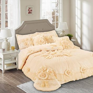 Tache 6 Piece Daffodil Bouquet Peach Comforter Set (002-3)