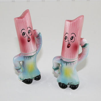 Pink Dancing Candle Salt and Pepper Set, Made in Japan, Fantasia