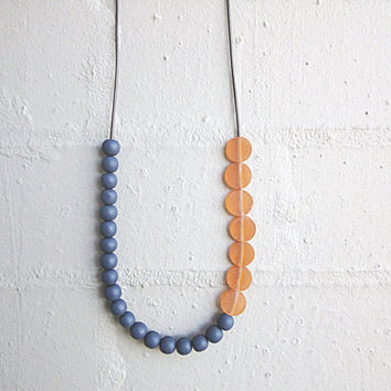 NL-231 Dark Blue Grey Round and Orange Coin-shaped Matte Resin Beads Necklace in Length Adjustable Dark Purple Brown Colour Leather Cord