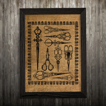 Victorian print Scissors art Burlap poster Antique print BLP669