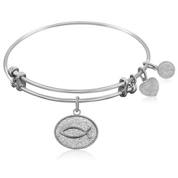 Expandable Bangle in White Tone Brass with Christian Fish Ichthys Symbol