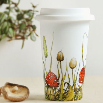 Illustrated White Ceramic Travel Mug Double Walled Porcelain with Lid - Shrooms and Grass Collection - made to order