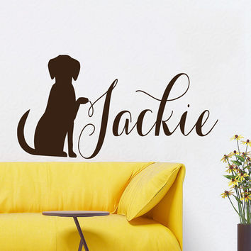 Dog Wall Decals Pet Personalized Nickname Grooming Salon Puppy Pet Shop Interior Design Vinyl Decal Sticker Kids Room Bedroom Decor KG879