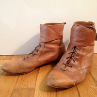 vintage Brown Leather Ankle Riding Boot