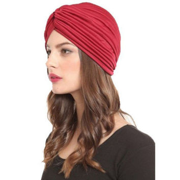 Indian Cap Pleated Headwrap Turban Stretchy Band Hats for Women Cloche Chemo Hijab Beanies  SM6