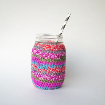 Mason Jar Cozy Crochet Jar Cover in Pink Desert