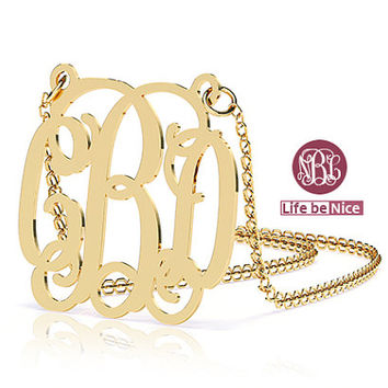 1.5 inch Gold Monogram Necklace hand made 18k Gold Plated Necklace name Necklace Personalized Monogram Sterling silver