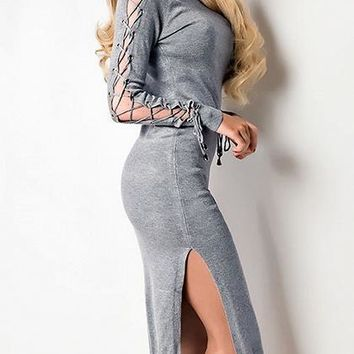 Gray High Neck Eyelet Lace Up Long Sleeve Bodycon Dress