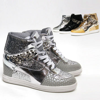 Womens Shiny Studded Wedge Sneakers Heel Sparkle   Lady High Top Ankle Boots b9d81c521