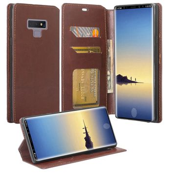 Samsung Galaxy Note 9 Case, SM-N960U, Slim Flip Folio [Kickstand] Pu Leather Wallet Case with ID & Card Slots & Pocket - Brown