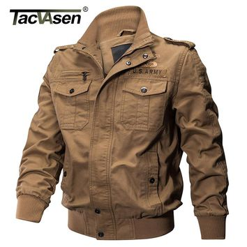 TACVASEN Men Military Jacket Spring Cotton Slim Jacket Coat Army Pilot Jacket Autumn Men's Air Force Tactical Jacket TD-QZQQ-008