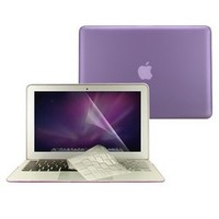 """TopCase 3 in 1 Rubberized Hard Case Cover And Transparent TPU Keyboard Cover with LCD Screen Protector for Macbook Air 13-inch 13"""" (A1369 and A1466) + TopCase Mouse Pad (PURPLE)"""
