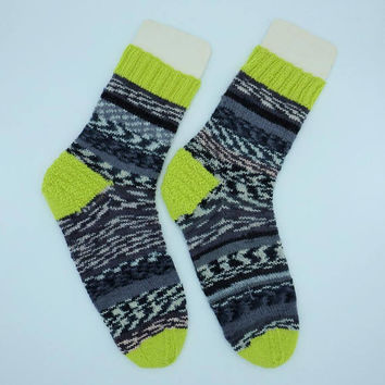 Boyfriend Christmas gift for friend Hand knitted yellow neon colored wool socks