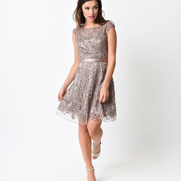 Mocha Looped Ribbon Beaded Short Dress