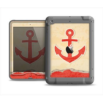 The Scratched Vintage Red Anchor Apple iPad Mini LifeProof Nuud Case Skin Set