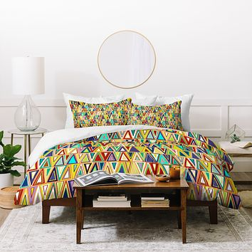 Sharon Turner Tangerine Triangles Duvet Cover