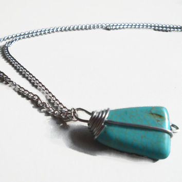 Wire Wrapped Pendant Charm Necklace for Women, Turquoise Nugget in Steel Wire on Silver Plated Chain, 18 Inch Chain, Southwestern Jewelry