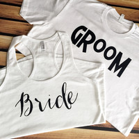 His and Hers Shirts - Bride and Groom Shirts - Bride Tank Top - Groom T-Shirt - Wedding Day Shirts - Honeymoon Shirts