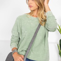 Cotton Ribbed Fall Sweater | Sage