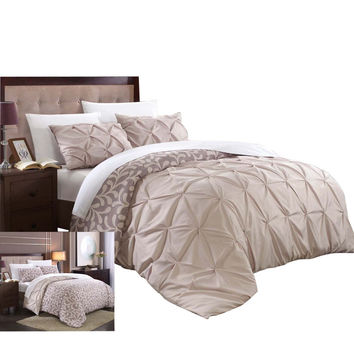 Tirina Talia Pintuck 7 Piece Reversible Duvet Cover Set King & Queen Plum