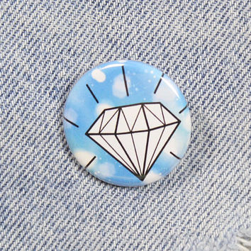 Shining Diamond 1.25 Inch Pin Back Button Badge