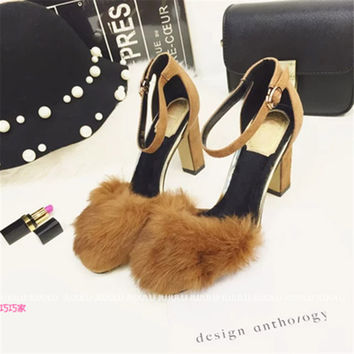 Strappy Funky Chunky High Fur Heels Mary Jane Pump Suede Thick Heel Shoes For Lady Women Ankle Wrap Rabbit Flock Lolita 2015