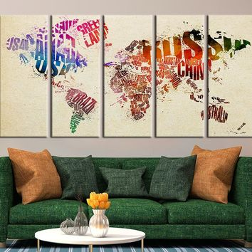 Country Names and World Map Canvas Panels, Watercolor World Map Art No:042