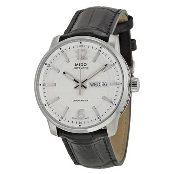 Mido Great Wall Automatic Silver Dial Black Leather Mens Watch M0196311603700