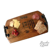 Handmade Bourbon Barrel Wood Serving Tray With Rustic Iron Handles