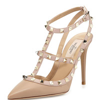 Rockstud Leather T-Strap Pump, Alpaca - Valentino