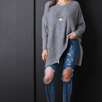 Side Zip Chunky Sweater