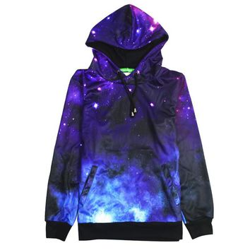 Fashion Casual Galaxy Print Long Sleeve Top Sweater Pullover Sweatshirt Hoodie