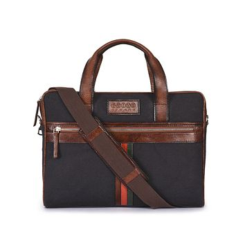 Phive Rivers Men's Leather and Canvas Charcoal and Tan Laptop Bag