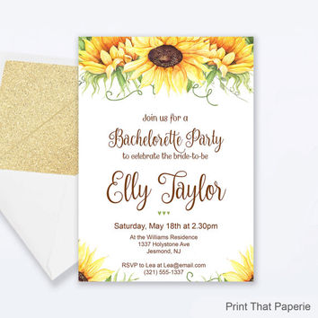 Floral Bachelorette Party invitation - Floral Invitation - Floral Invite - Sunflower Bachelorette Party Invite - Hen Party Invitation