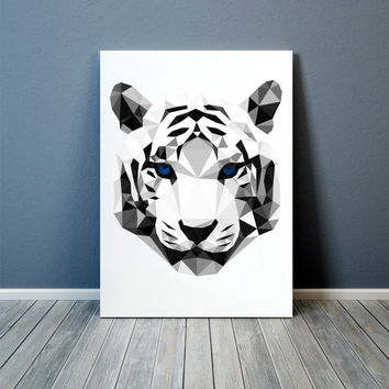White tiger poster Wall art Animal print Geometric decor TOA84