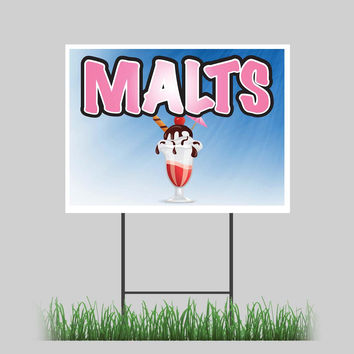 """18""""x24"""" Malts Yard Sign Ice Cream Shop Concession Stand Sign"""